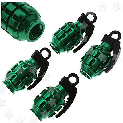 4Pcs Green Car Motorcycle Wheel Rim Tyre Air Valve Caps Grenade Aluminium Alloy