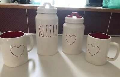 New Rae Dunn VALENTINES DAY LL Red KISSES & Heart Kitchen Canisters & Mugs ❤️
