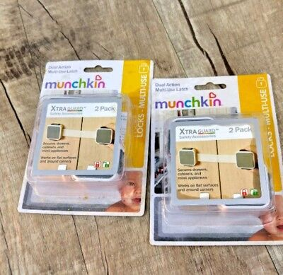 4 Munchkin Dual Action Multi Use Childproof Cabinet Drawer Appliance Latches