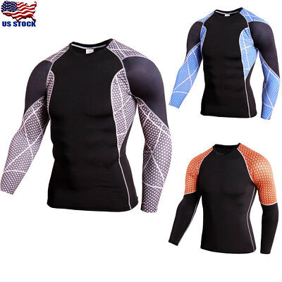 34dc9734 Mens Compression Bodybuilding Shirt Base Layer Sport GYM Top Long Sleeve T- shirt