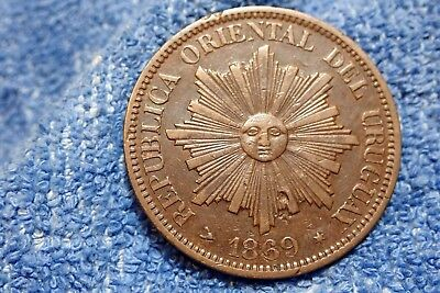 Uruguay: Scarce 4 Centesimos Large Bronze Coin 1869-H  Very Fine++!