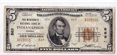 """$5 1929 T2 Merchants National INDIANAPOLIS Indiana IN """"RARE"""" Only 12 on Census!"""