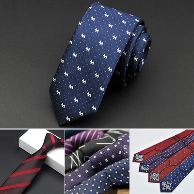 Men Fashion Waterproof Narrow Silk Skinny Striped Dot Business Necktie Neck Tie