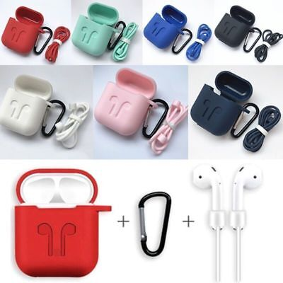 Case Cover + AirPod Strap Silicone Protective Charging Sport for Apple AirPods