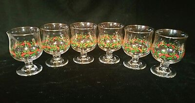 "(6) Arby's Libbey Christmas Holiday Holly Berry 4-1/2"" Parfait Glasses W/ Gold"