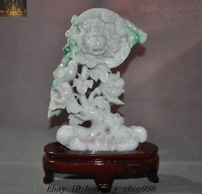 Chinese Natural Emerald Green Jade Jadeite Carved Peony flower Bird Lucky Statue