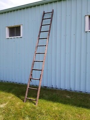 """Wood Ladder 12 Rungs  Approximately 144"""" Weathered VINTAGE ANTIQUE SHABBY"""