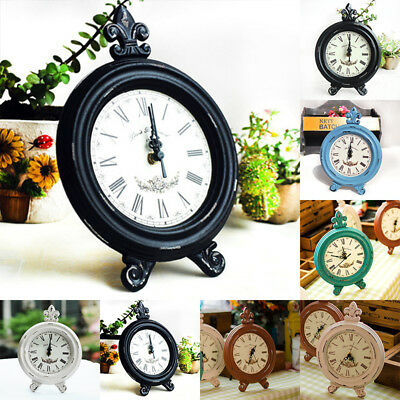 Retro Vintage Wooden Table Clock Home Decor Ornament Powered By Battery