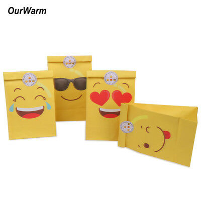 60x Emoji Paper Party Bags Lolly Treat Gift Bag Kid Birthday Candy Box +Stickers