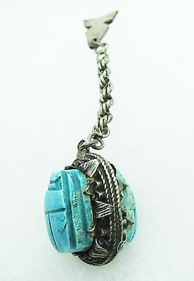 Hand Carved Double Egyptian Turquoise Glazed Faience Scarab Pendant chain SALE