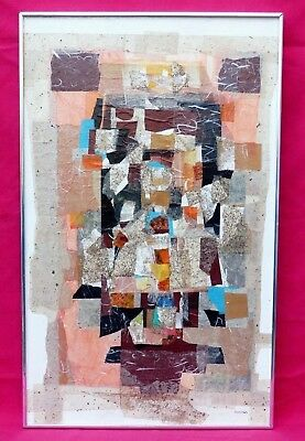 Vintage Original Abstract Collage Painting Signed Virginia Smith Retro 1980'S 80