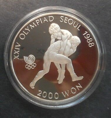 South Korea 1987 Olympic Judo  2000 Won  Proof  Coin Nice
