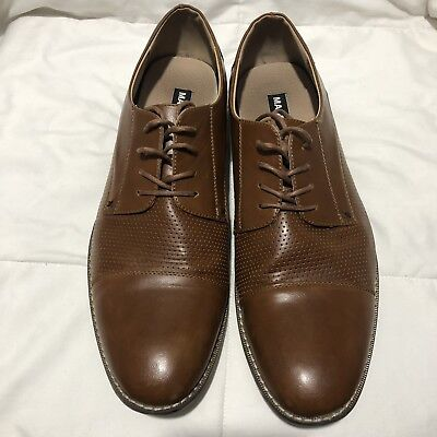 82b0d7326fb STEVE MADDEN M-CRANNE Mens Brown Leather Casual Dress Lace Up Oxfords Shoes  12
