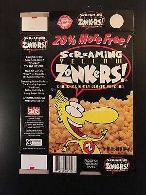 1997 Screaming Yellow Zonkers snack food box flat excellent condition SHIPS FREE