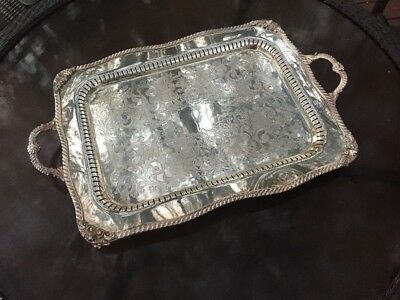 Estate Large Heavy Vintage Silver on Copper Ornate Footed Butler's Serving Tray