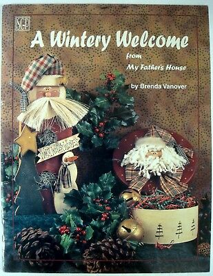 Wintery Welcome Home Decor Wood Pattern Book Christmas Tole Painting Santa Angel