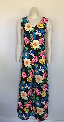 Womens Vintage 70s Psychedelic Floral Flares Jumpsuit S
