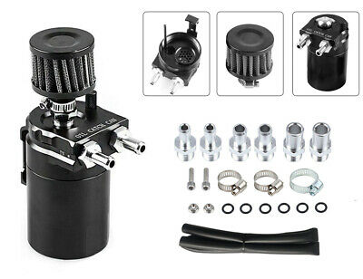 Cylinder Aluminum Engine Oil Catch Reservoir Breather Tank Can w/ Filter Black