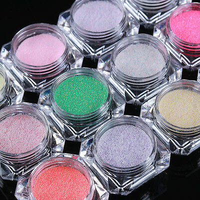 Nail Art Holographic Sugar Glitter Powder Dust Sandy Nail Pigment Tips 12 Colors