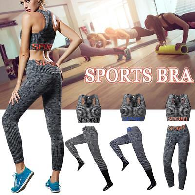 Women's 2Pcs Yoga Suit Workout Gym Running Sports Bra Vest Tank Top Athletic Set