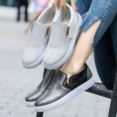 9227a8bf2 New Womens Casual Sneakers Flat Slip On Diamante Zip Trainers Pumps Shoes  Sizes