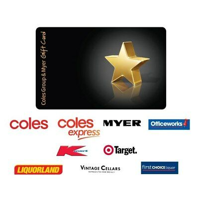 Brand New Unused Coles Group and Myer Gift Card $299 Value