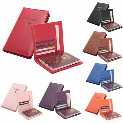 PU Leather RFID Blocking Passport Travel Trip Wallet Holder ID Cards Cover Case