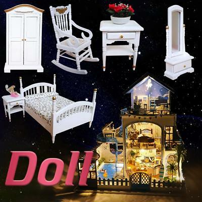 Kid Miniature Wooden Bedroom Doll Bedroom Furniture Set Role Play Toys Xmas Gift