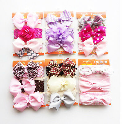 3pcs/Set Baby Girl Cute Bow Headband Elastic Headdress Kids Hair Band Newborn