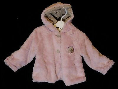 Baby Girls Krickets Pink Faux Fur Fluffy Cord Lined Hooded Coat Age 18-24 Months