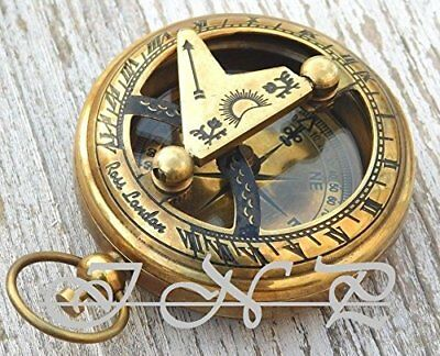 Antique Brass Sundial Compass Vintage Push Button Nautical Compass Marine Gift