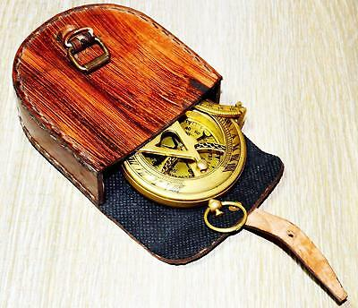 Brass Antique Style Brass Pocket Compass Push Button Sundial/Leather Case