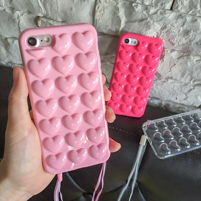 New Hot 3D Cute Bubble Love Heart Strap Fashion Soft Phone Case Cover For iPhone