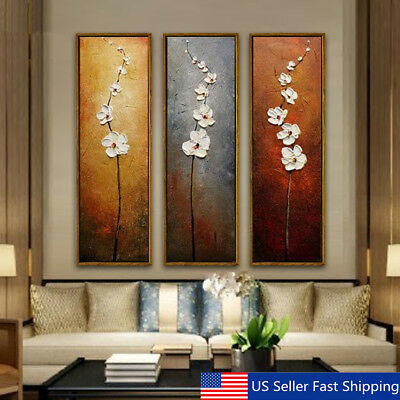 3Pcs Unframed Colorful Flower Canvas Abstract Painting Print Art Wall Home Decor