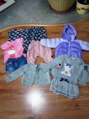 Selection of baby girls clothes(age 1/2 years) Jacket, dress, trousers, cardigan