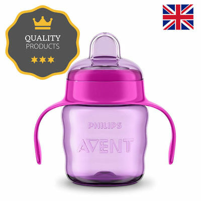 Avent Easy Sip Spout Baby Feeding Cup With Handle, 200 Ml, Pink/Purple Non-Spill