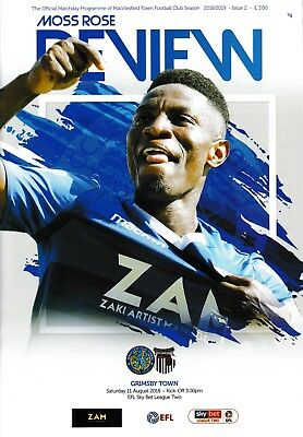 Macclesfield Town v Grimsby Town 2018/19 brand new football programme
