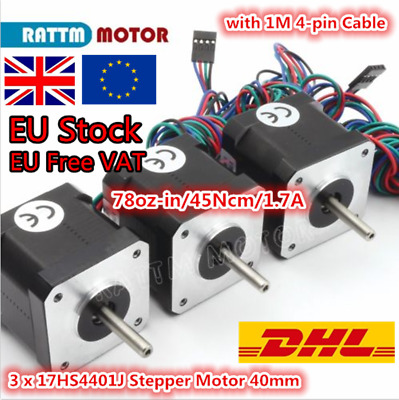 【UK,EU】3Pcs Nema 17 40mm Stepper Motor 78oz-in &Cables for CNC Router/3D Printer