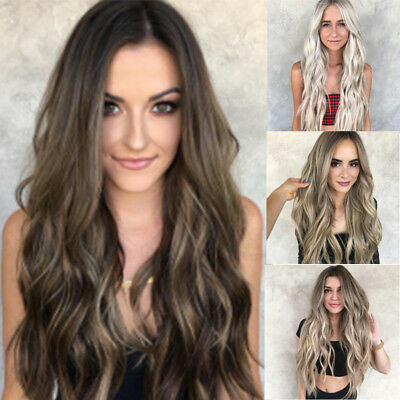 Women Mix Colors Gradient Long Curly Synthetic Wig Full Lace Wig Wavy Wig 70cm