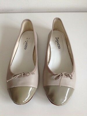 Repetto Taupe Ballet Flats Size 6 Leather And Patent Dark Beige