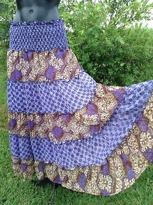 Vintage Long Hippy Skirt Sz M Purple Paisley Colourful Flared Gathered Tiers NEW