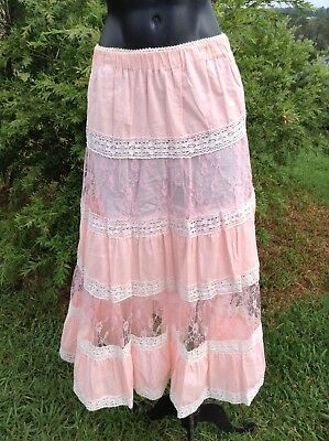 Vintage 70s Beautiful Long Cotton Hippy Skirt Green Full Flare Tiered Lace Skirt