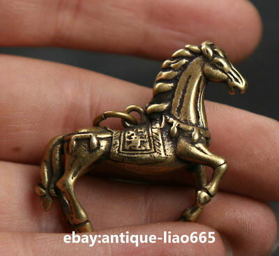 42MM Small Curio Chinese Bronze Lovable 12 Zodiac Animal Horse Wealth Pendant