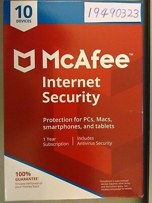 McAfee Internet Security 2018 10 Devices 1 Year Anti Virus