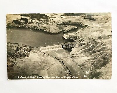 Real Photo Postcard - Showing the Proposed Grand Coulee Dam on Columbia River