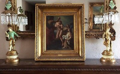 """Antique 17th C. Old Master Oil Painting Art """" Baptism of Christ """" Carlo Maratti"""