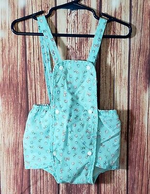 Vintage Lily Kids Bloomers Overalls 12M Baby Girl Bows Flowers Teal Pink Snaps