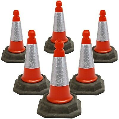 "PACK OF 6 Road Traffic cones 18"" (500mm) Self weighted Safety Cone"
