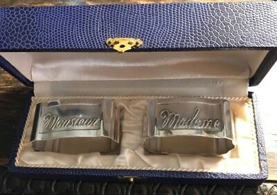 Antique French Silverplate Napkin Rings Raised Script Monsieur & Madame