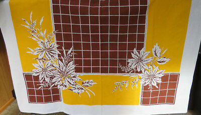 Vintage Print Tablecloth Brown Gold Floral & Blocks Queen Anne Label